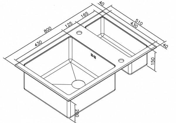 ZORG GL-8051-2 BLACK Inox Bronze схема с размерами